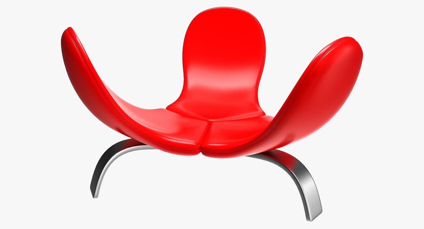 3D realistic edra italia chair