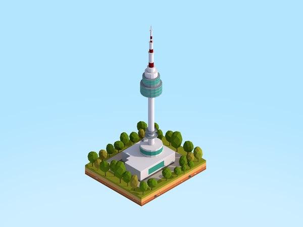 seoul tower landmark 3D model