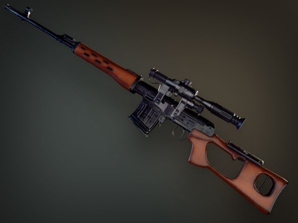 3D pbr dragunov sniper rifle