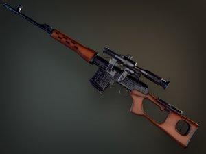 3D pbr dragunov sniper rifle