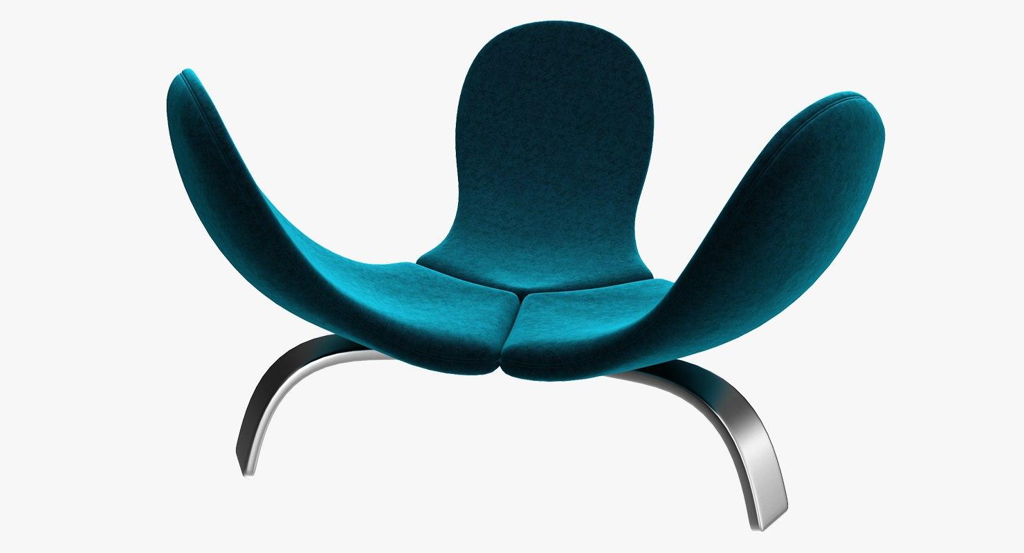 realistic velvet edra italia chair model