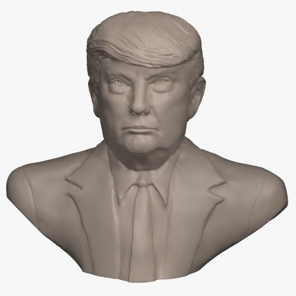 3D model bust donald trump