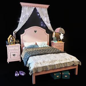 bed nightstand adelina 3D model