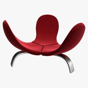 3D realistic velvet edra italia chair