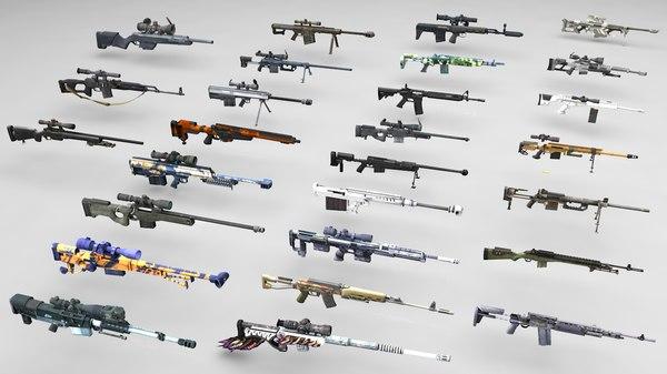 3D sniper rifles pack