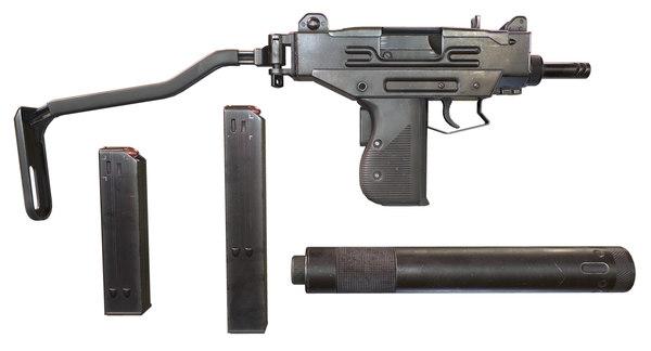 3D micro uzi submachine gun model