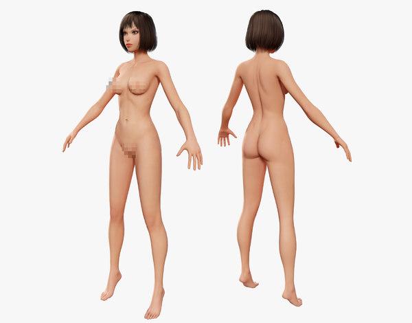 cartoon woman naked model