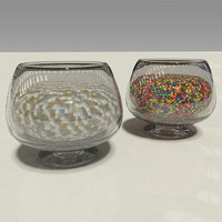 3D glass candy bowls mints