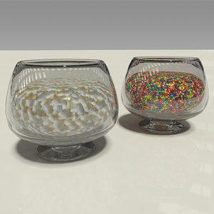 3D glass candy bowls mints
