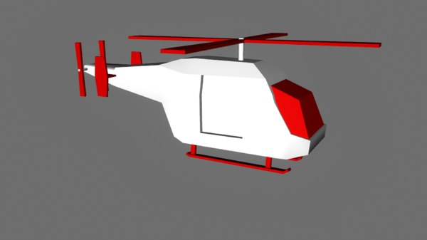 helicopter red white 3D model
