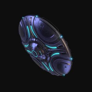 3D alien sci-fi ufo model