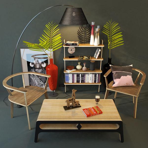 3D model chair unikamoblar coffee table
