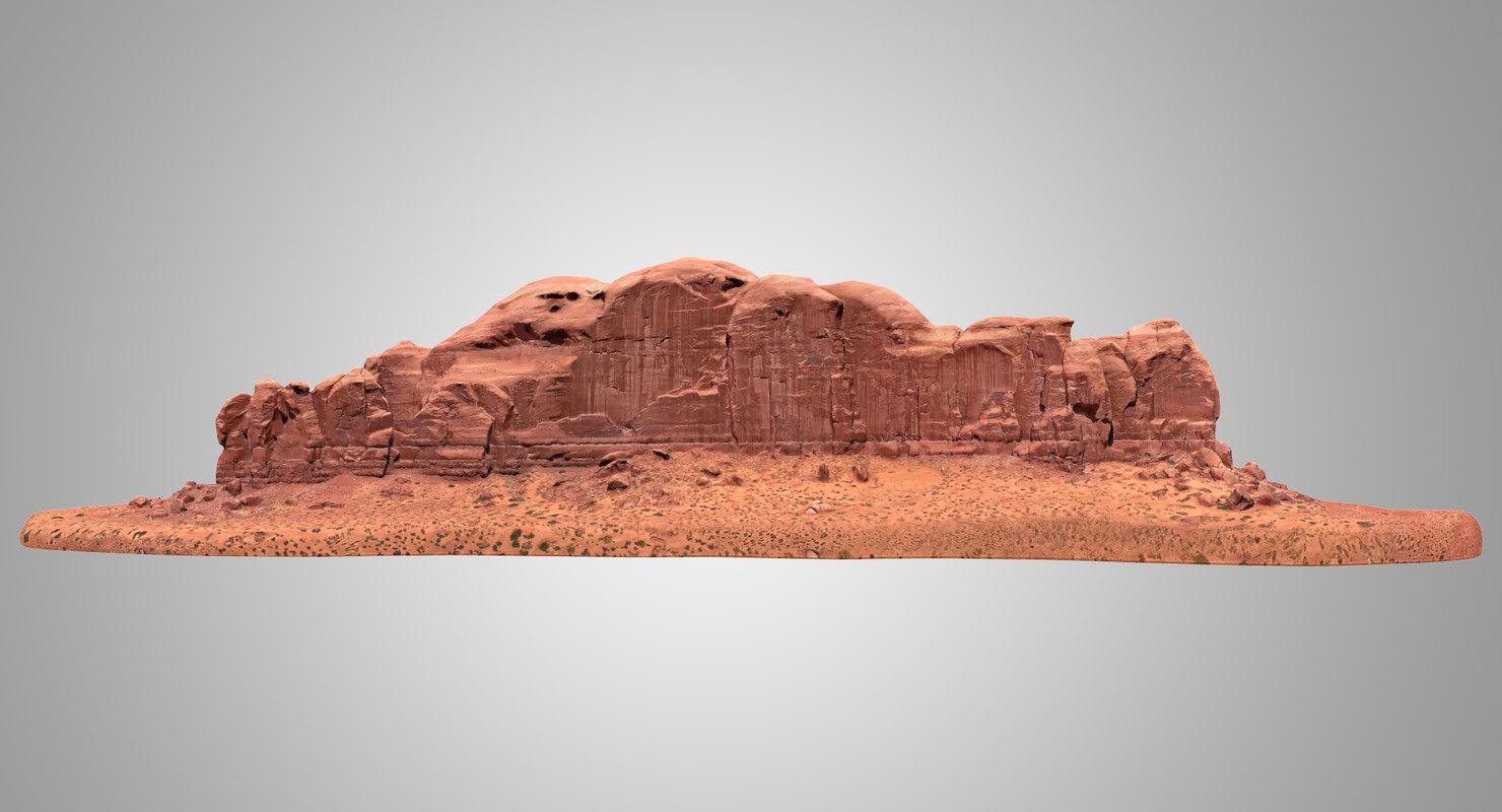 3D sandstone butte 9 model