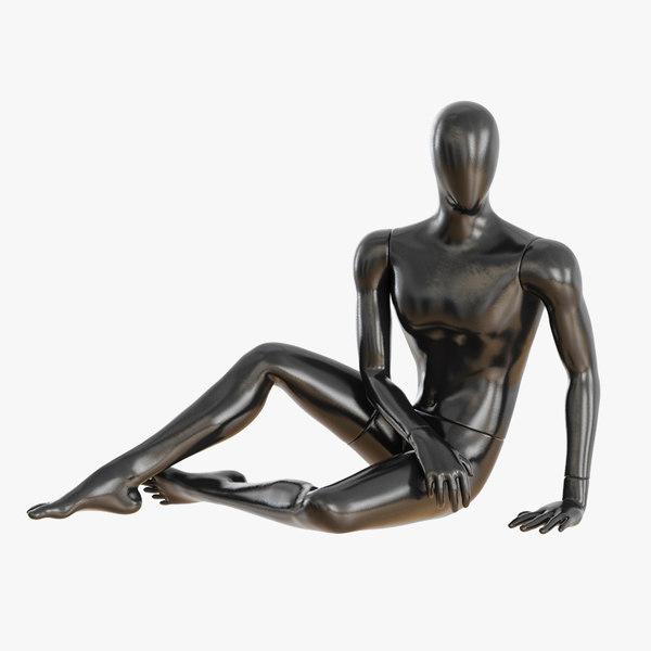faceless sitting male mannequin 3D model