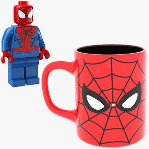 man mug spider lego 3D model