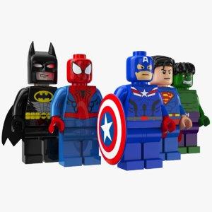 3D lego super heroes