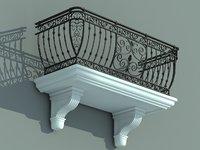 balcony iron fence 3d model