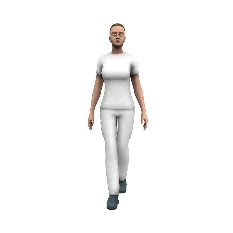 3D worker woman cat-rig model