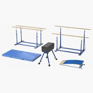 3D realistic gymnastics equipment set