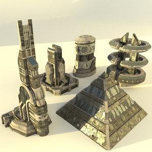 3D futuristic buildings 3