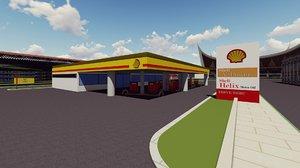 3D petrol station model