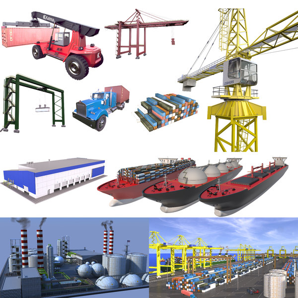 3D industrial reach stacker