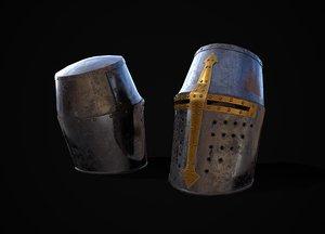 3D busket medieval knight helmet model
