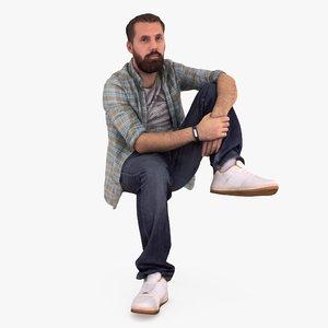 3d bearded man sitting people human