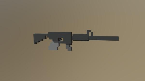 3D low-poly voxel gun