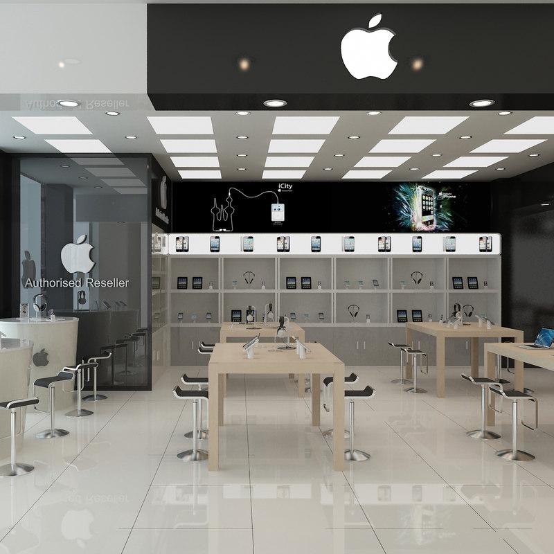 3D apple store scene