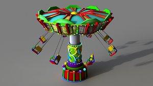 cartoon swing ride 3D model
