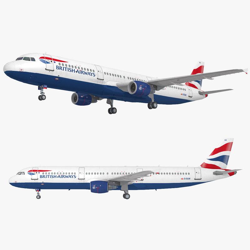 a321 british airways plane 3D model