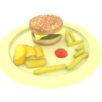 3d burger chips fries model