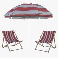 3D sun lounge beach model
