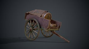 wagon cart ready 3D model