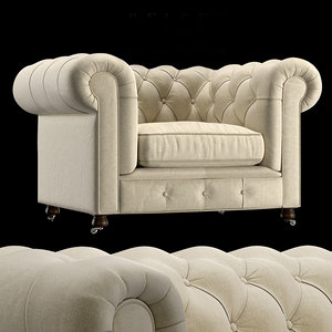 armchair chesterfield 3D model