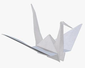 origami crane paper 3D model