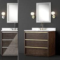 3D washbasin 3 colors bezier model