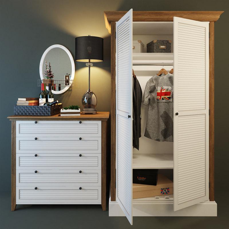 3D ranch wardrobe mirror lamp model