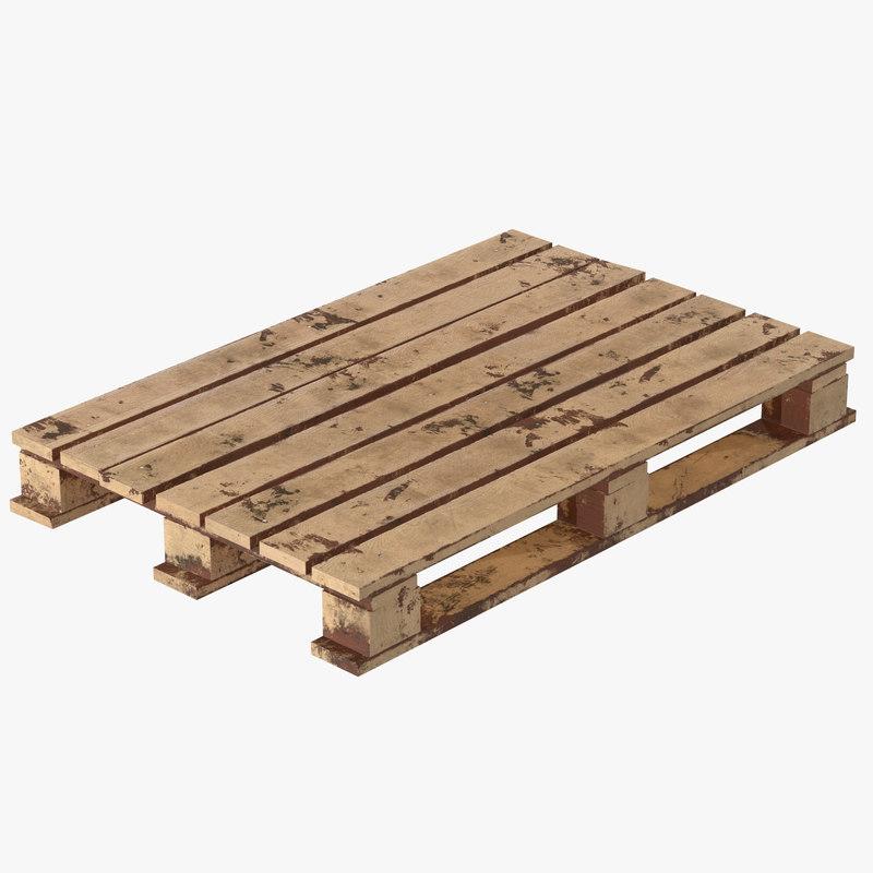 3D model pallet wood wooden