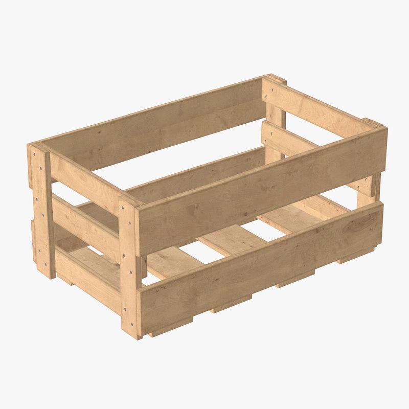 3D wooden box wood model