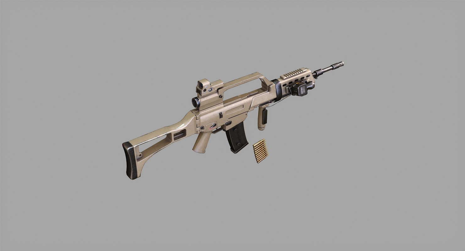 rifle real rendering 3D model