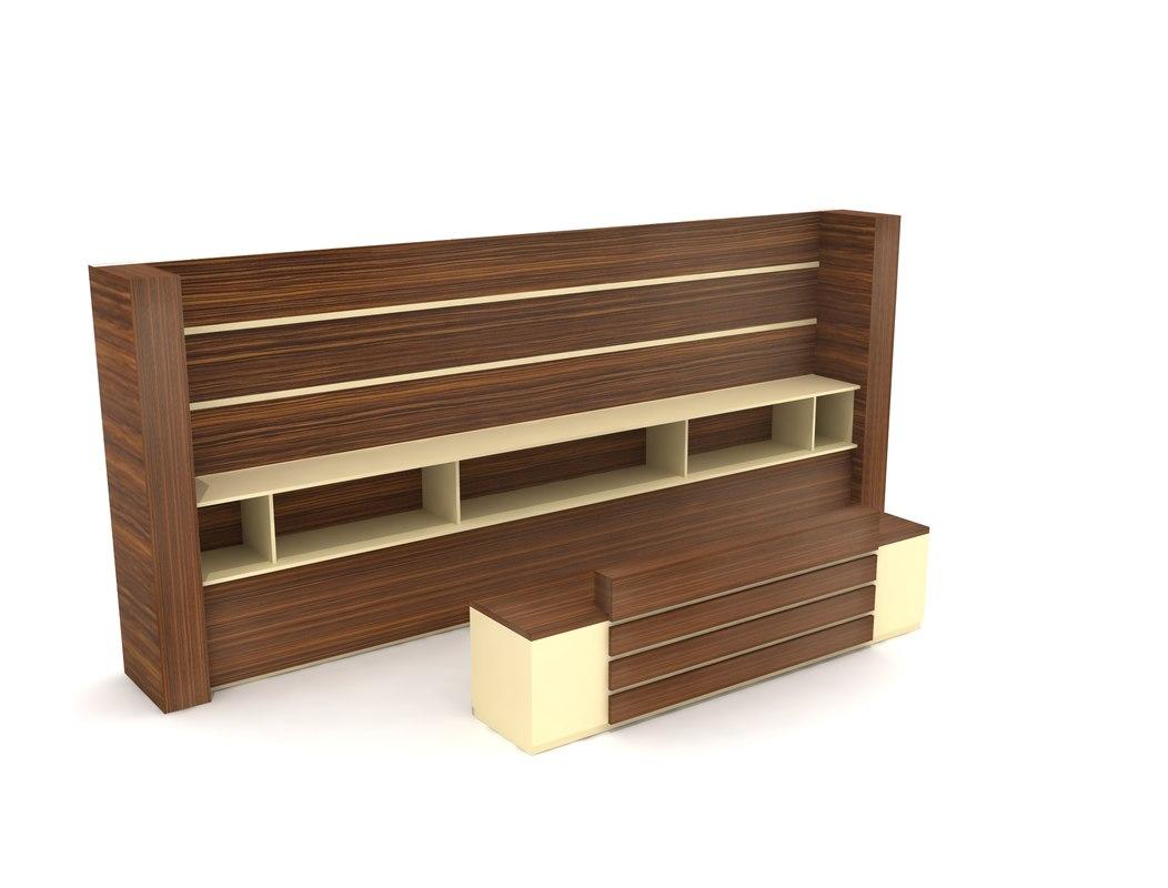 decorative wood information desk 3D