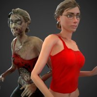 civilian and zombie rigged girl