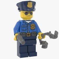 3D lego police officer