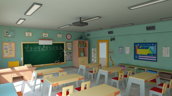 cartoon classroom modeled scene 3D model