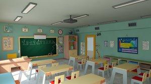 cartoon classroom modeled scene 3D model