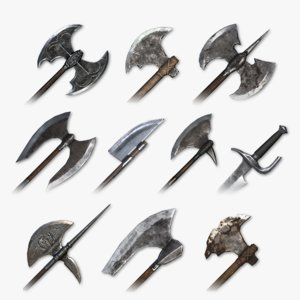 3D medieval cleaving weapons packed