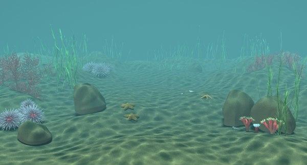 underwater scene caustics 3d obj