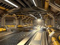 sci-fi modular corridor 3D model